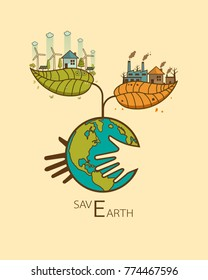 Save Earth concept  in heart with hand hug concept,The different of Environmentally landscape factory and forest ,green earth- ecology concept green information Vector illustration