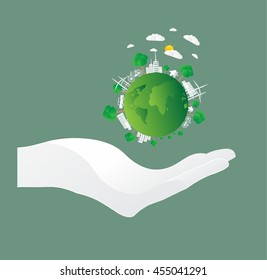 Save earth concept, paper cut style