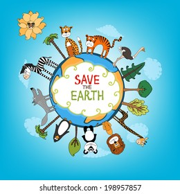 Save The Earth concept with a variety of wild animals surrounding the perimeter of a globe or planet with interspersed fresh green trees for nature conservation   hand-drawn illustration