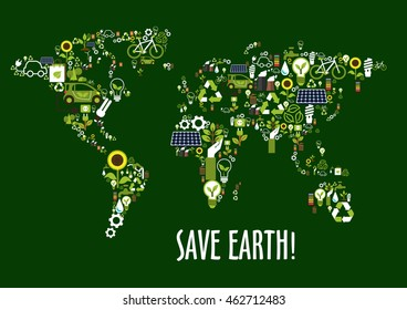 Save earth concept with world map composed of solar panels, recycling signs, light bulbs with green leaves, electric cars, green eco energy, biofuel, bicycles, flowers, water and industrial pollution