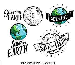Save Earth. Earth day illustration. Hand drawn sketch converted to vector