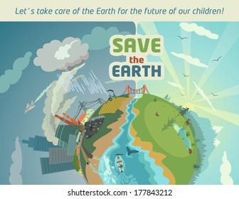 Save the Earth for the future of our children. Eco poster