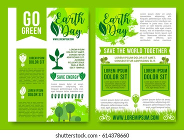 Save Earth and Go Green vector posters design of nature ecology conservation and environment pollution. Global world recycling and green energy concept. Forest trees and eco woodland plants