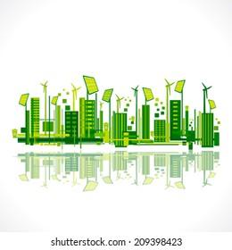 save earth or green city reflection design concept vector