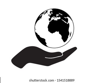 Save The Earth Icon, Black and White Flat Design