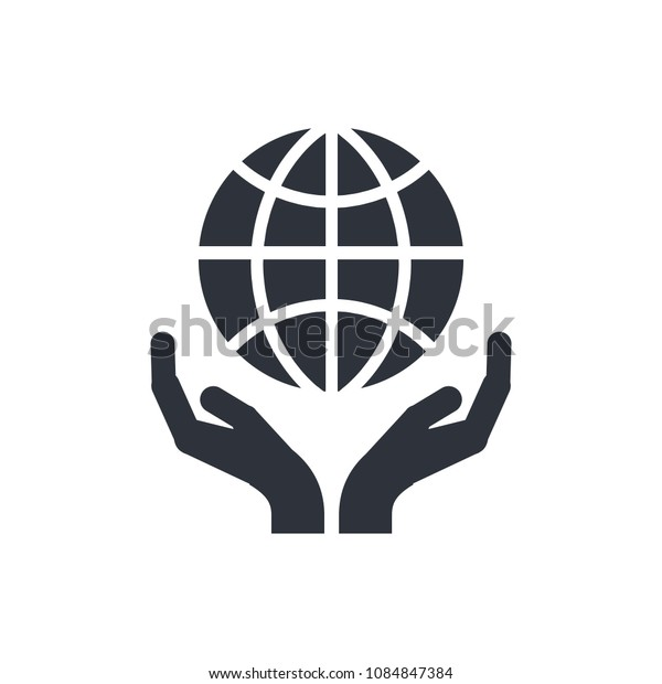 save earth icon vector hand and globe icon