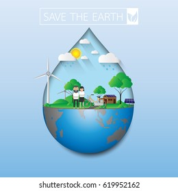 Save the earth.Eco life with green nature.Vector illustration.