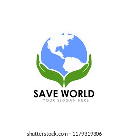 save earth logo design template. save globe logo vector icon