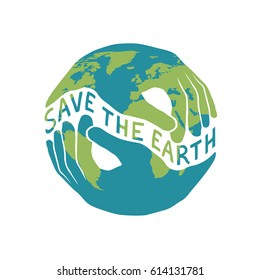 """Save the Earth"" logotype for Earth day celebration. Two hands shaped hold the planet. Vector illustration isolated on white background."