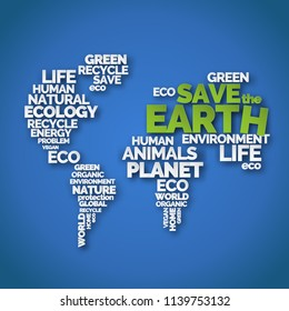 Save the Earth. Paper art typography poster with words in shape of world map. Ecology and environment. White and green letters on blue background. Earth day