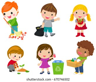 Save Earth. Waste recycling. Children planted young trees. Girl watering flowers from watering can. Kids gathering plastic bottles for recycling. Isolated white background