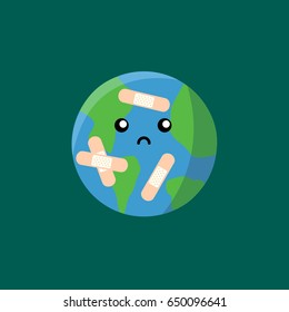 save the earth & world. clean simple isolated sad baby Earth vector & wounded with a cartoon band aid & plaster modern. cute and sweet character globe & planet icon.
