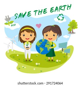 Save the Earth, save the world, save planet, ecology concept, cartoon character