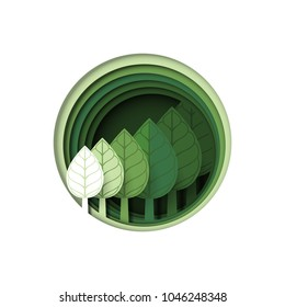 Save the earth.Green forest tree plant.Nature and eco friendly of ecology and environment conservation concept paper art style design.Vector illustration.