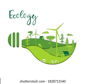 Save The Ecology, Green, Renewable Energy And Environment Concept. Wind Turbines, Eco Friendly Energy Shaped As Abstract Light Bulb Isolated On White Background. Vector Illustration In Flat Style