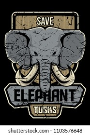 Save elephant tusk wording with wooden badge. suitable for print, merchandise, t-shirt, poster.