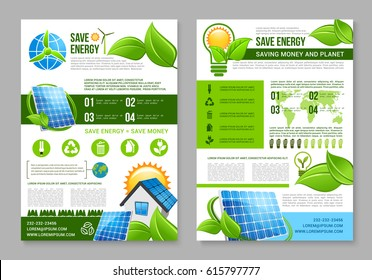 Save energy brochure template. Saving energy tips for eco green house poster with solar energy panel, light bulb with sun and green leaf, wind turbine and recycle symbol. Ecology themes design.