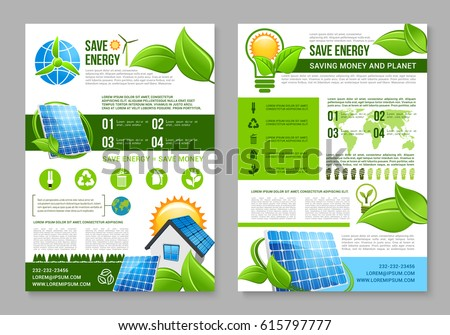 Save Energy Brochure Template Saving Energy Stock Vector