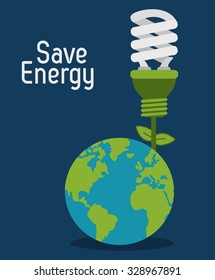 Save energy concept with eco icons design, vector illustration 10 eps graphic.