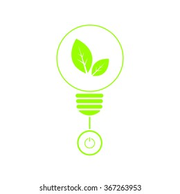 Save energy concept with green leaf inside light bulb and put switch, isolated background, green color, vector illustration