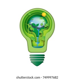 Save energy creative idea concept.Paper carve of light bulb with nature and environment conservation paper art style.Vector illustration.
