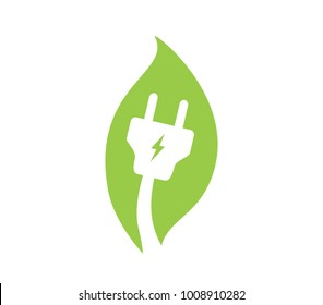 Save energy electricity icon. Environmental protection icon. Energy saving plug in a leaf sign. Eco friendly icon.