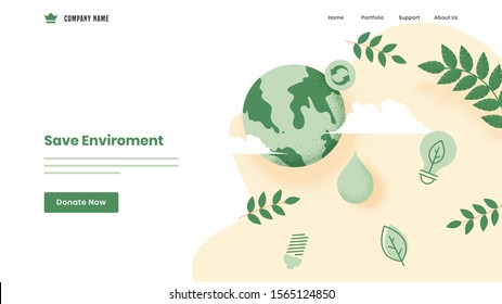 Save Environment concept based landing page design with earth globe, leaves and eco bulb on white background.