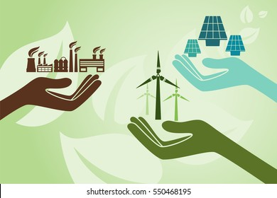 Save environment and green power concept. Hands holding new solution to create power using solar cell and windmill instead of old power plant.