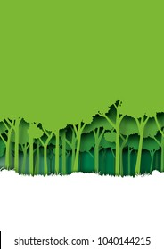 Save eth earth and nature landscape concept paper art style design.Forest plantation with green environment and ecology conservation concept.Vector illustration.