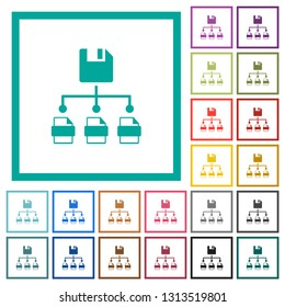 Save file as multiple format flat color icons with quadrant frames on white background