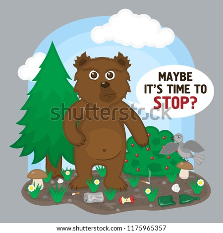 save forest concept bear littered forest stock vector royalty free