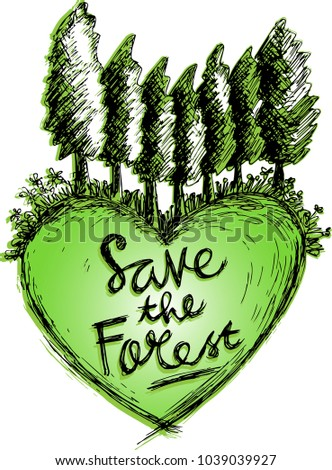 save forest sketchy hand drawing stock vector royalty free