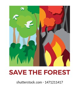 Save the forest. Terrible forest fire, landscape wich wildfire, ecological catastrophe. Forest Landscape Before and After Fire. Green forest in fire. Burning trees. Wildfire theme.