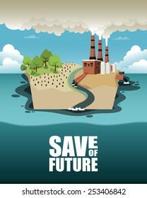 Save of future. Vector illustration on ecology theme