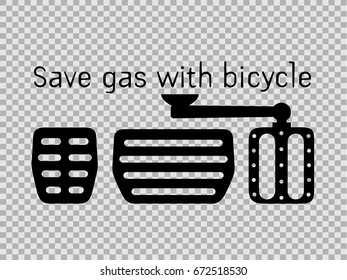 Save gas with bicycle Idea , gas pedal and Bicycle pedal