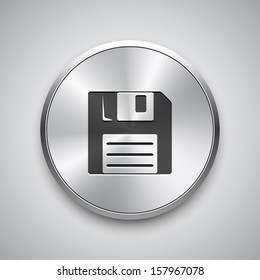 Save icon on metal button. Vector background.