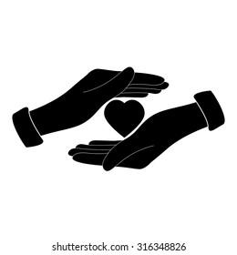 Save love - black vector icon