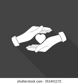 save love vector icon with long shadow