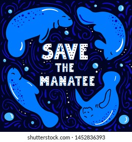 Save the manatee concept. Manatee swimming. Character design manatee