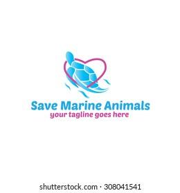 Save Marine Animals Logo Template