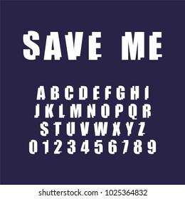 Save me font. Decorative alpabet for your design. Vector