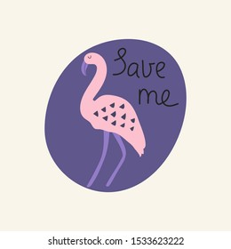 Save me hand drawn lettering. Killing animals concept for poster, card or print. Poaching
