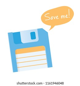 Save me! vintage floppy. Idea - Data storage, digital media, cloud computing technologies, computer equipment, file storage, internet software downloads, retro / vintage technology etc.