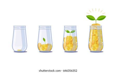 Save money in banks. Grow greens. Vector graphics