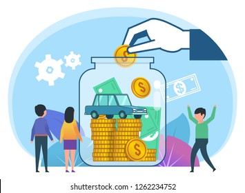 Save money for car concept. Small people stand near big bottle with money, coins, cash. Poster for social media, web page, banner, presentation. Flat design vector illustration