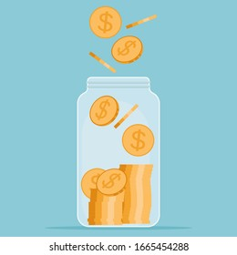 Save money concept. Saving dollar coin in jar. Money Jar. Vector illustration in flat style