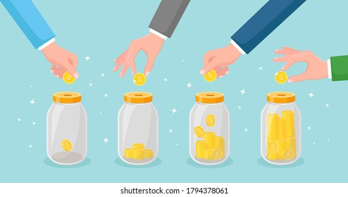 Save money in glass jar. Hand throw gold coins in moneybox. Saving deposits. Investment in retirement. Wealth, income concept. Cash falling in bottle. Vector cartoon design