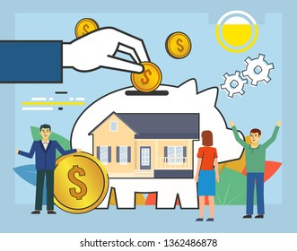 Save money for house, apartment. People stand near big piggy bank, cash, coins, savings. Poster for social media, web page, banner, presentation. Flat design vector illustration