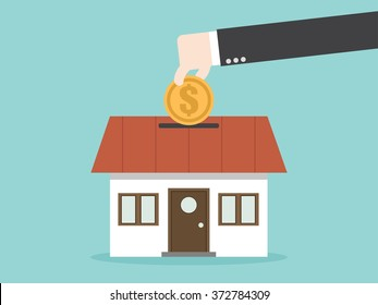 Save money for house property. Flat design for business financial marketing banking advertisement office people life property stock fund in minimal concept cartoon illustration.