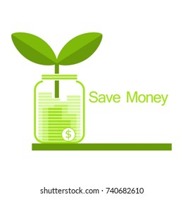 save money illustration vector green monochrome color flat design